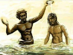 John the Baptist is baptizing people