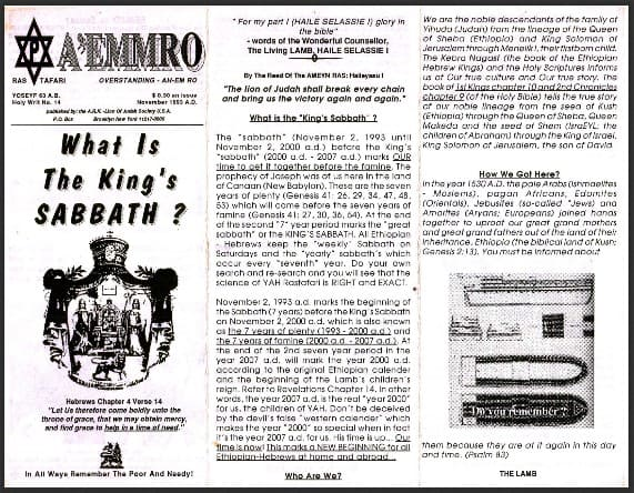 A'EMMRO | Rastafari Study Tracts #14 | What Is The King's SABBATH?