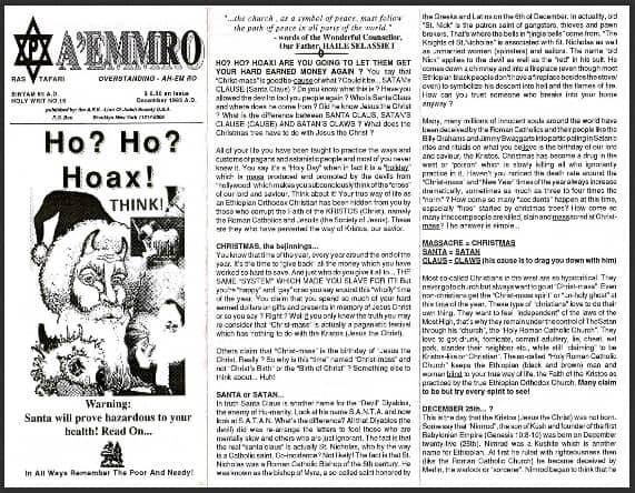 A'EMMRO | Rastafari Study Tracts #15 | Ho? Ho? Hoax!