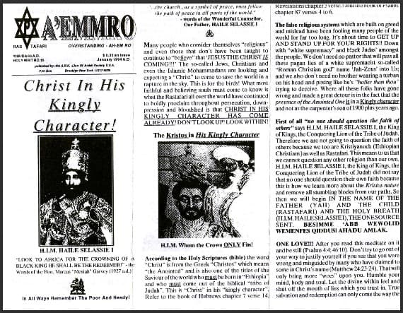 A'EMMRO | Rastafari Study Tracts #16 | Christ In His Kingly Character!