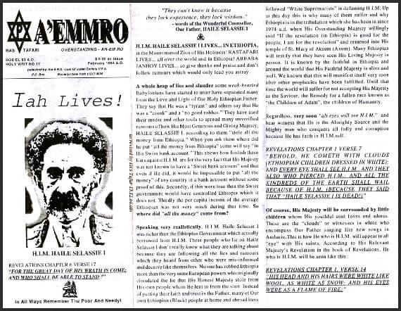 A'EMMRO | Rastafari Study Tracts #17 | Iah Lives!