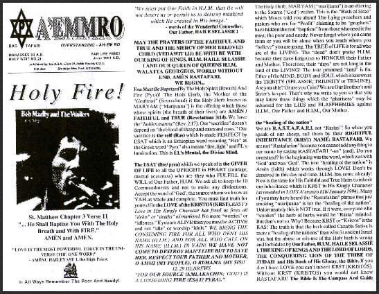 A'EMMRO | Rastafari Study Tracts #21 | Holy Fire!