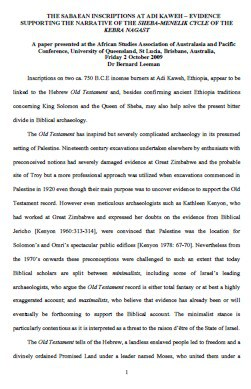 Free PDF Book | THE SABAEAN INSCRIPTIONS AT ADI KAWEH By Dr Bernard Leeman
