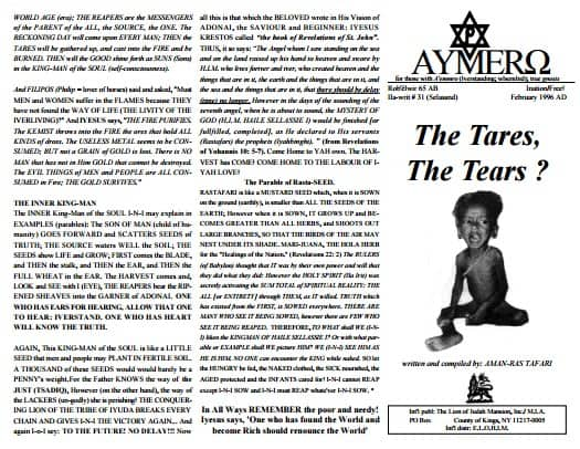 A'EMMRO | Rastafari Study Tracts #31 | The Tares, The Tears?