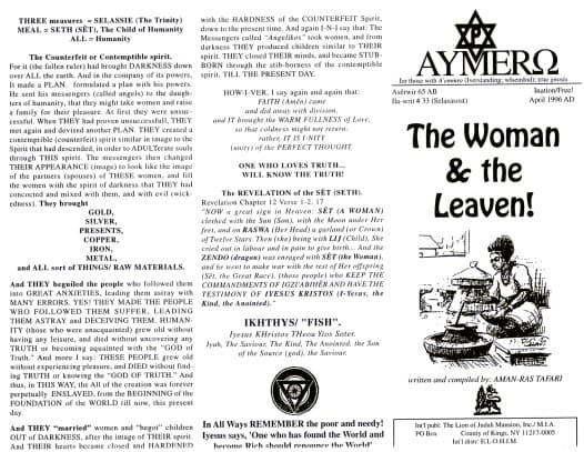 AYMERO | Rastafari Study Tracts #33 | The Woman & the Leaven!
