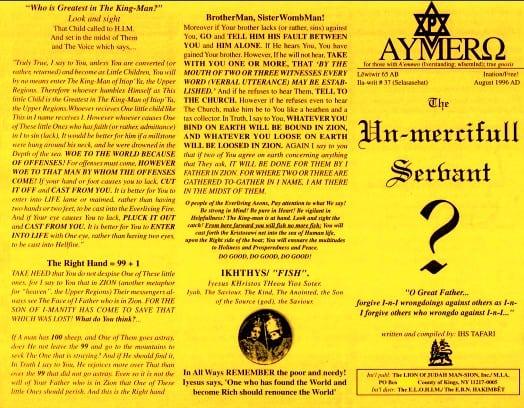 AYMERO | Rastafari Study Tracts #37 | The Un-mercifull Servant?