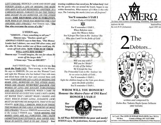 AYMERO | Rastafari Study Tracts #45 | The 2 Debtors...