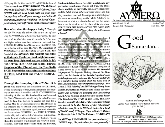 AYMERO | Rastafari Study Tracts #46 | Good Samaritan…