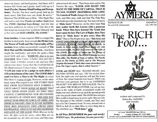 AYMERO | Rastafari Study Tracts #48 | The RICH Fool…