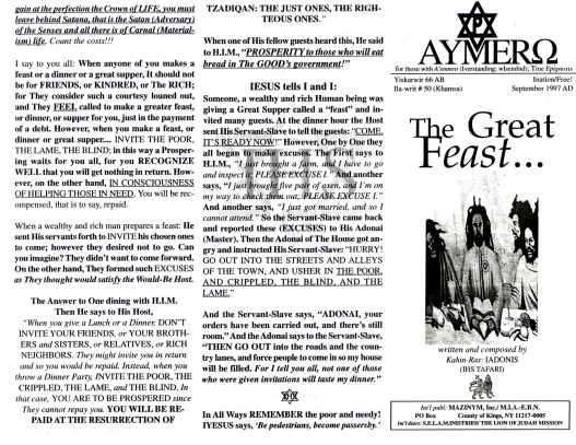 AYMERO | Rastafari Study Tracts #50 | The Great Feast…