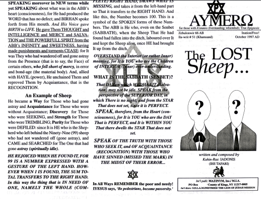 AYMERO | Rastafari Study Tracts #51 | The LOST Sheep…