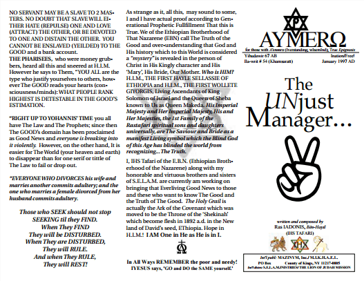 AYMERO | Rastafari Study Tracts #54 | The UNjust Manager…