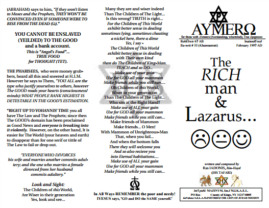 AYMERO | Rastafari Study Tracts #55 | The RICH man & Lazarus…