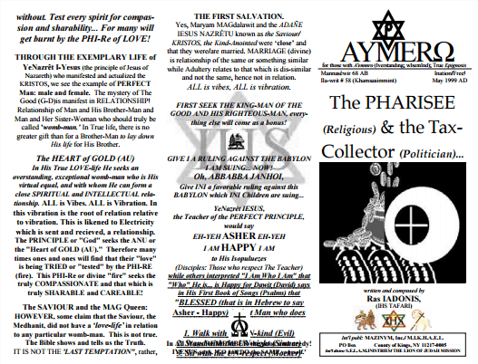 AYMERO | Rastafari Study Tracts #58 | The PHARISEE (Religious) & the Tax-Collector (Politician)…
