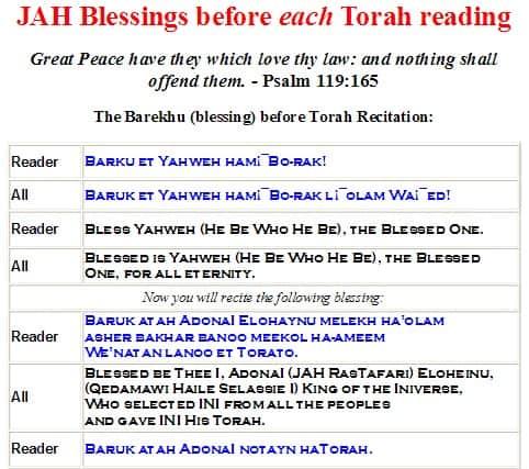 Hebrew4RasTafari Blessings before Torah Haftarah