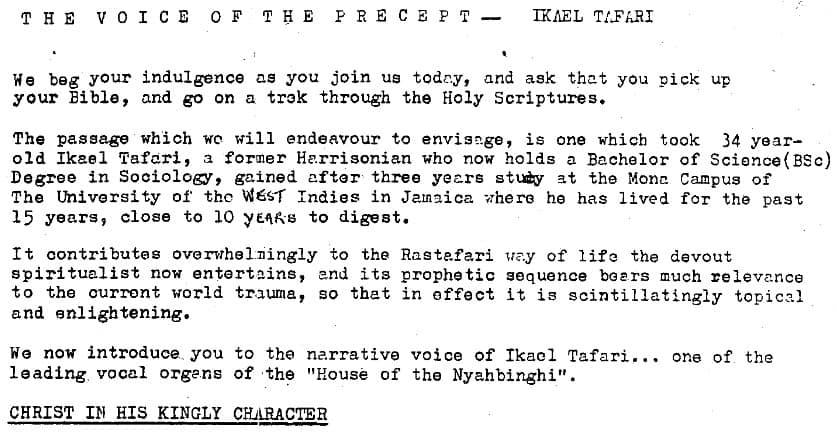 THE VOICE OF THE PRECEPT – IKAEL TAFARI