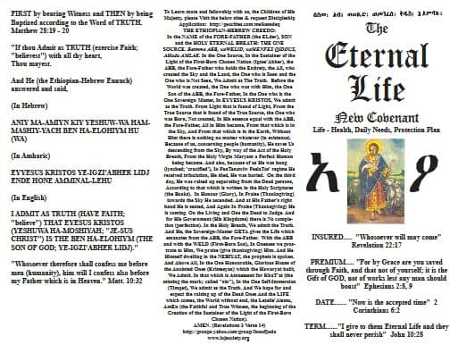 Eternal Life New Covenant Creed