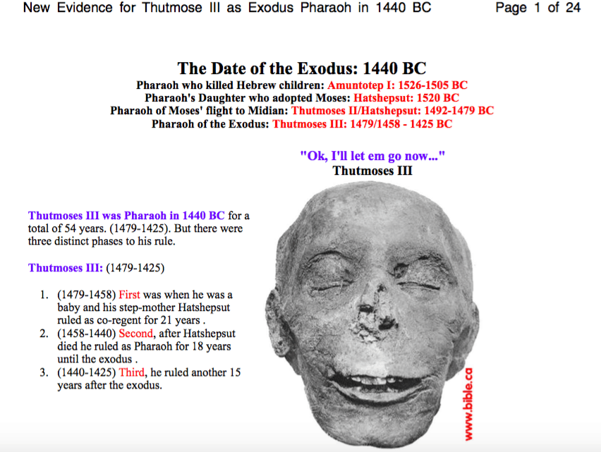 Exodus Pharaoh in 1440 BC New Evidence for Thutmose III
