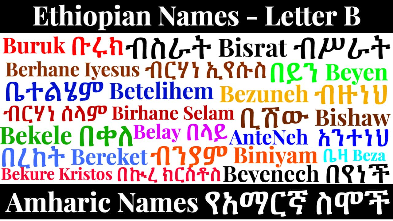 Ethiopian Names – Letter B