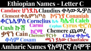 Ethiopian Names - Letter C - Amharic Names የአማርኛ ስሞች