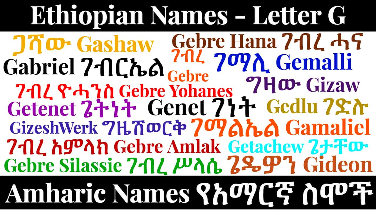 Ethiopian Names – Letter G