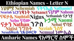 Ethiopian Names - Letter N - Amharic Names የአማርኛ ስሞች
