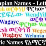 Ethiopian Names - Letter W - Amharic Names የአማርኛ ስሞች