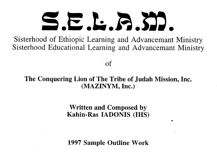 S.E.L.A.M. Sisterhood of Ethiopia Learning and Advancemant Ministry